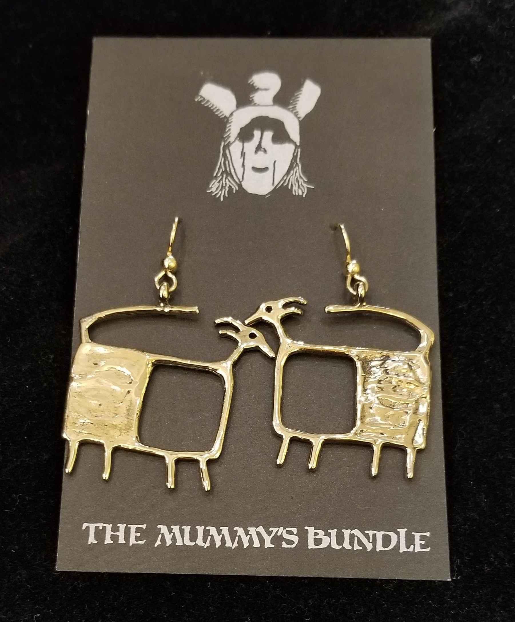TV Goat Brass Earrings by  Mummy's Bundle - Masterpiece Online