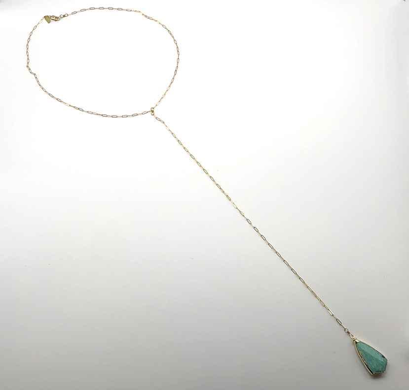 Amazonite Shield Pendant Y Drop Necklace Gold