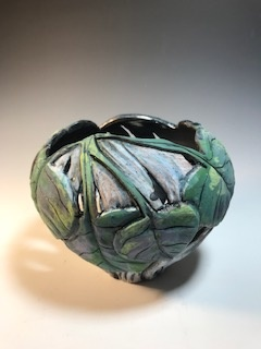 Green Leaf Rim Candle Bowl