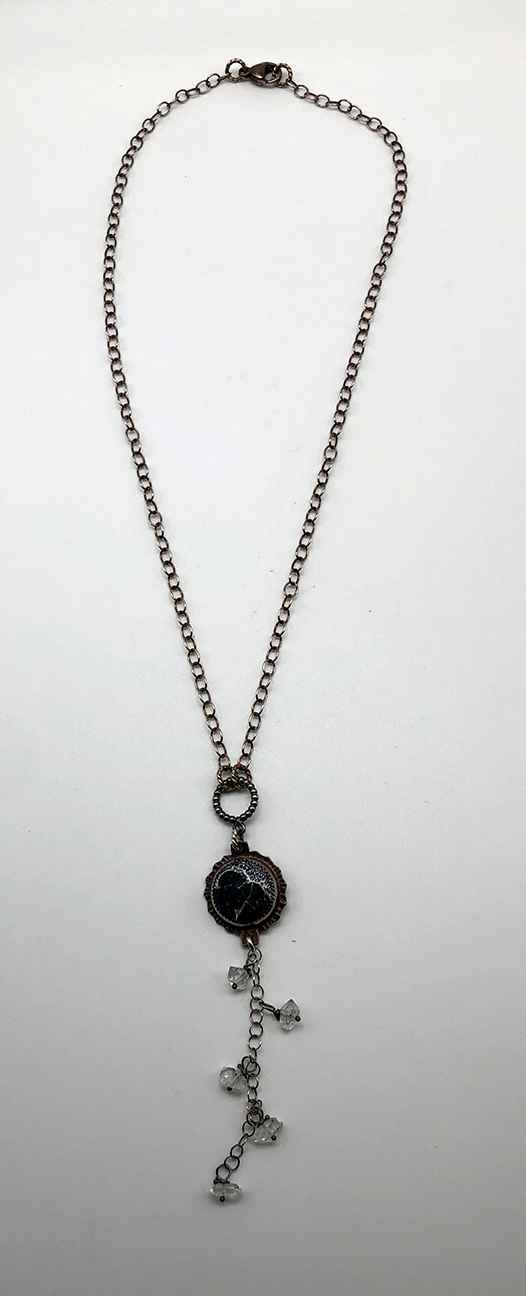 Acid Etched Black Onyx, Herkimer Diamonds and Sterling Necklace