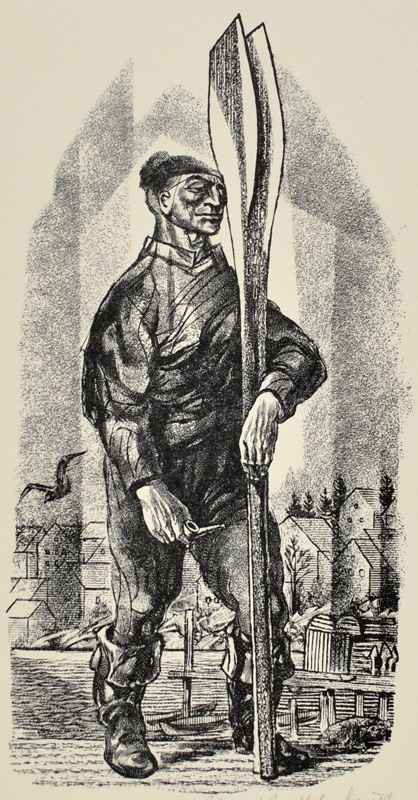 Man Holding Oar by  Bernard Brussel-Smith (1914-1989) - Masterpiece Online