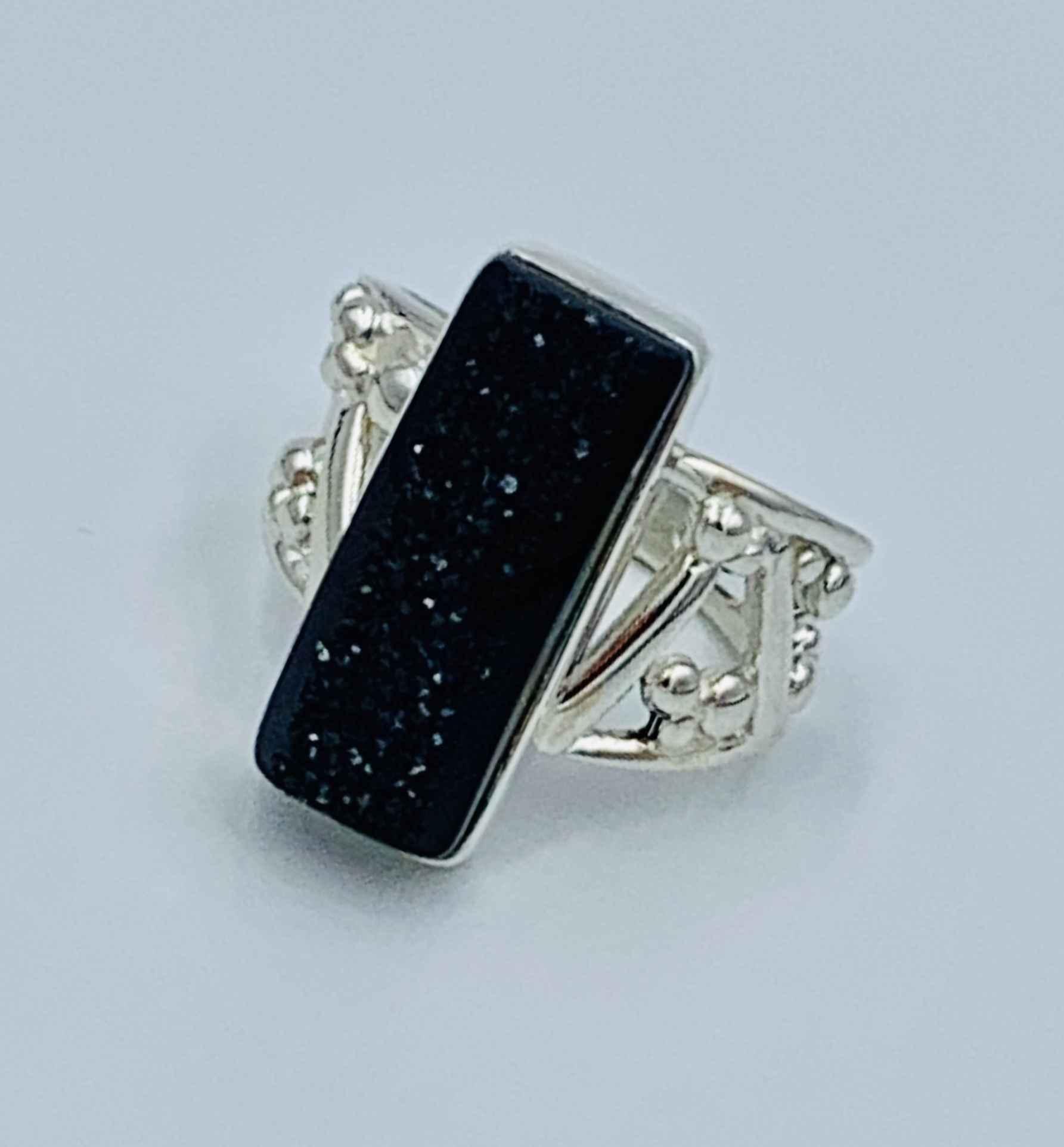 Silver Black Druzy Ring Size 6