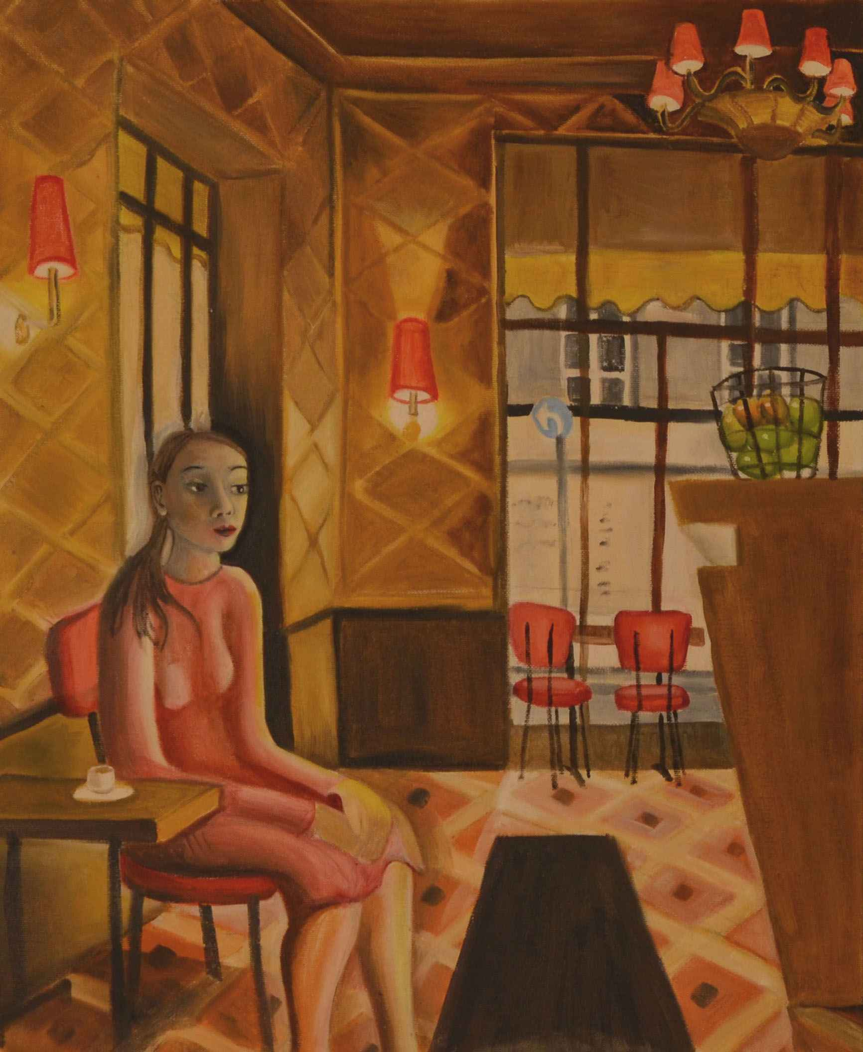 Woman waiting in Chez... by Ms. Rebecca Vincenzi - Masterpiece Online