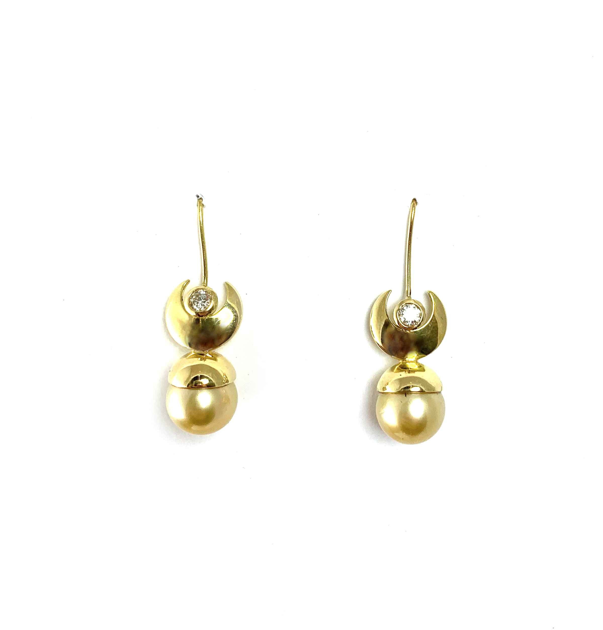 Pearl And Moon Earrin... by  Victoria Adams - Masterpiece Online