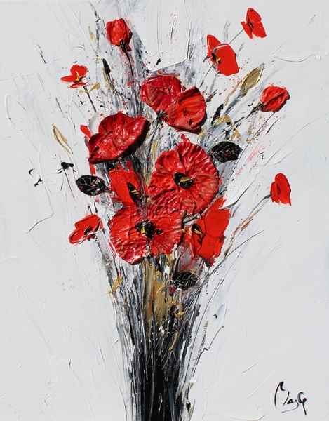 Deep Red Poppies  by  Louis  Magre