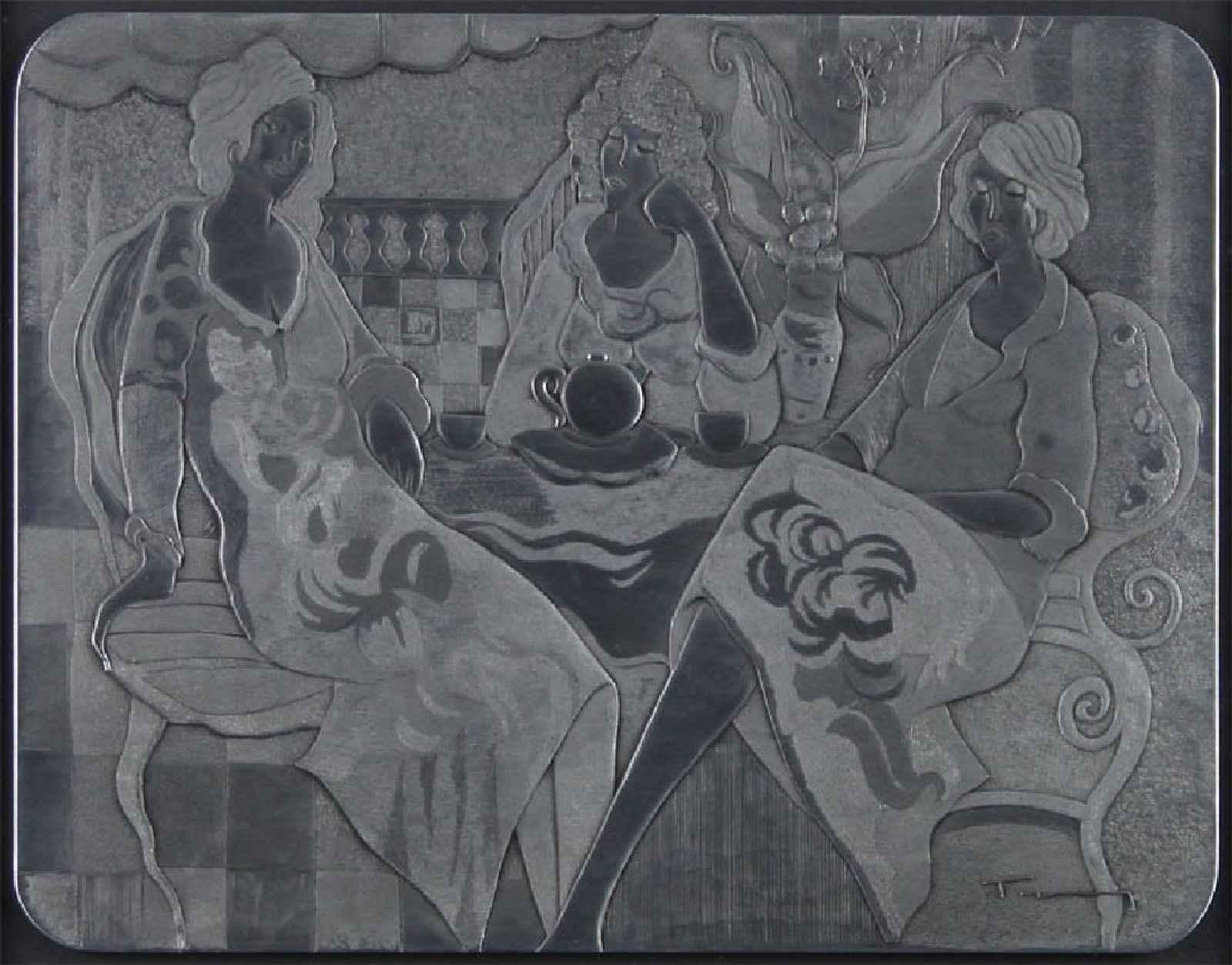 Three Ladies at Tea by  Itzchak Tarkay - Masterpiece Online