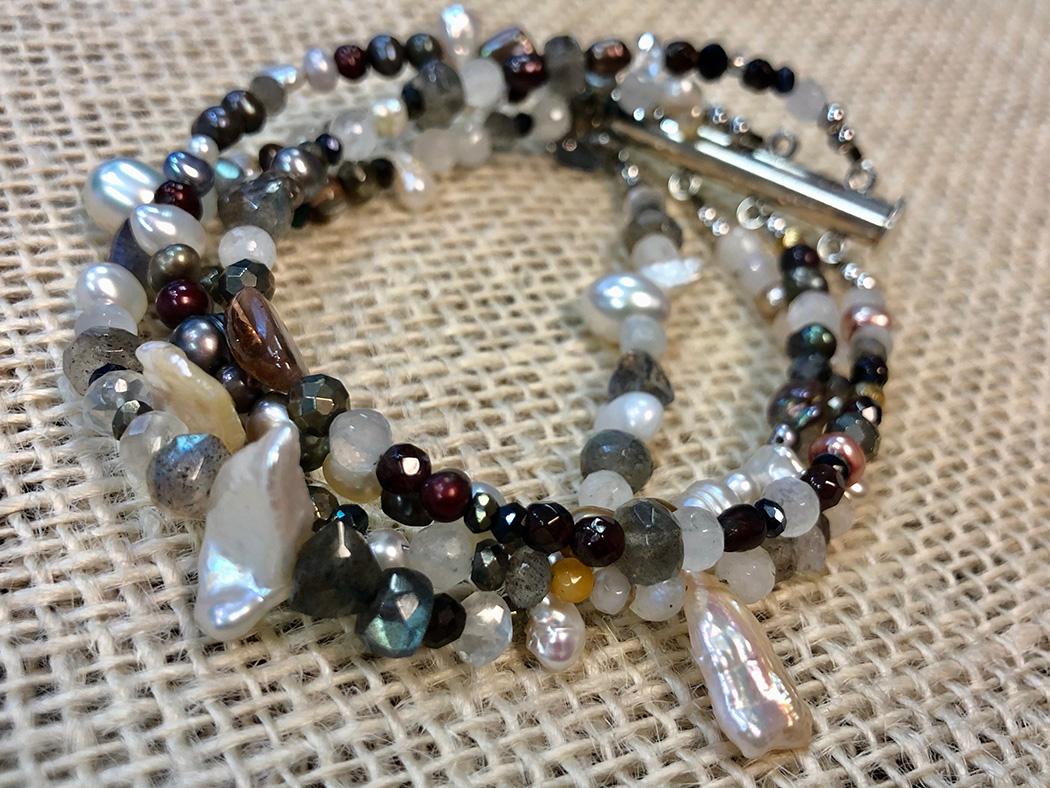 4 Strand Mixed Gemstone Bracelet