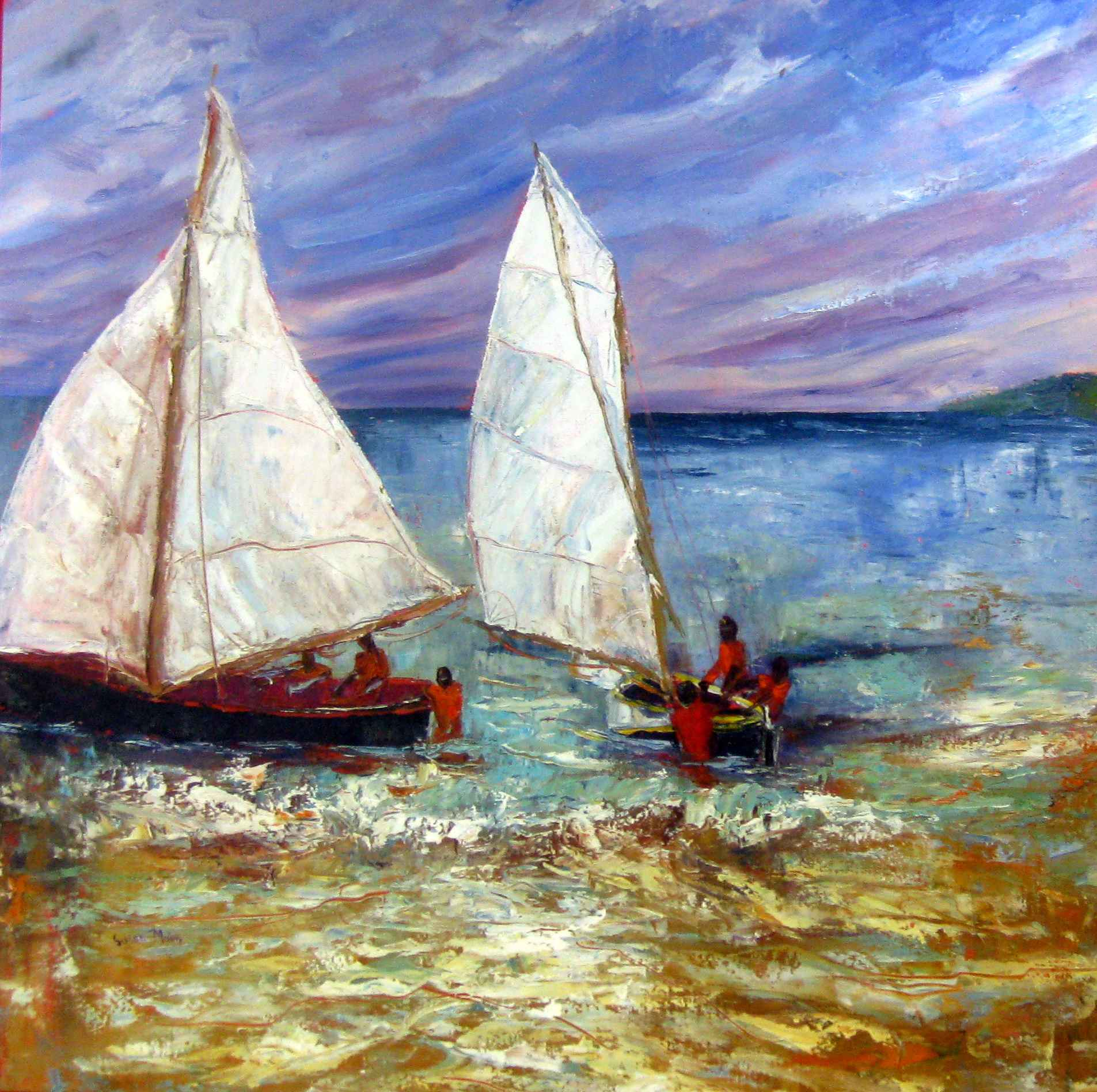 Black Boats Red Shirt... by Mrs. Susan Mains - Masterpiece Online