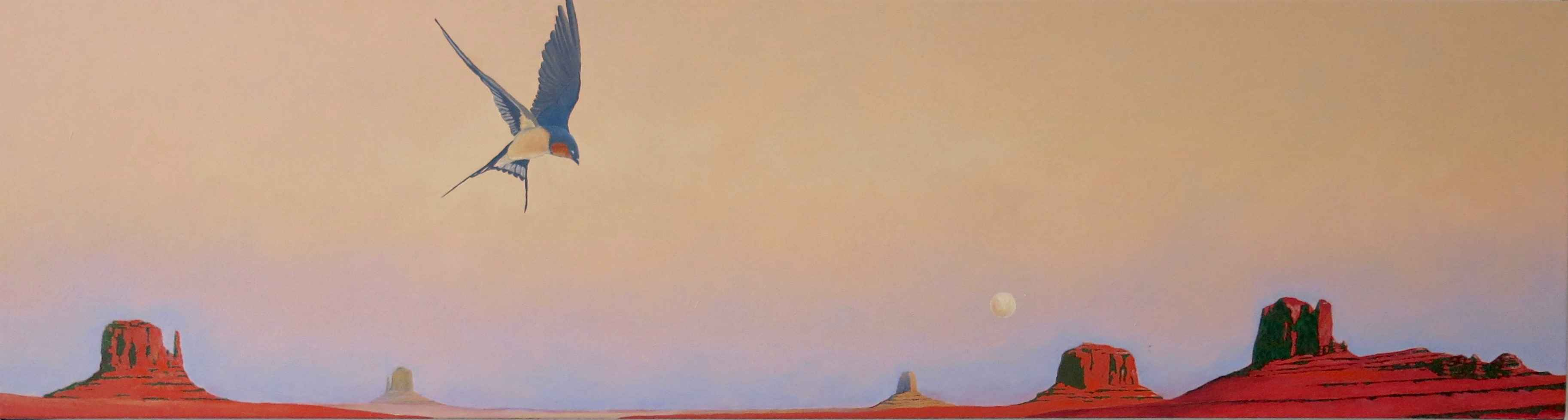 Moonrise With Swallow... by  David Knowlton - Masterpiece Online