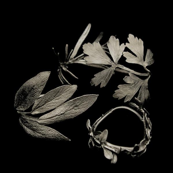 Herb Napkin Rings - Set of 4, Antique Pewter