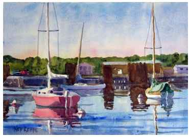 Red Sailboat and Tran... by  Ned Reade - Masterpiece Online