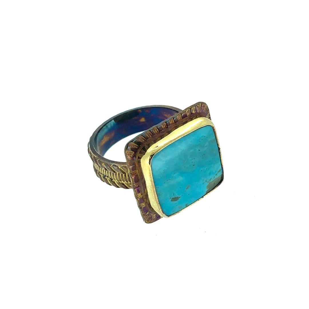 Kingman Turquoise Ring, size 7 1/4