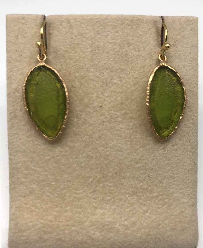 Sage Single Leaf Wire Earring in Leaf Green 1 1/4