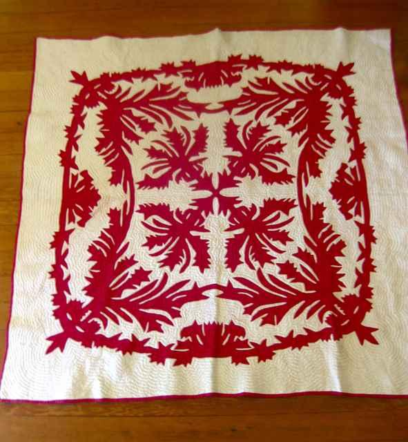 Hawaiian Quilt - Red ... by   Unknown - Masterpiece Online
