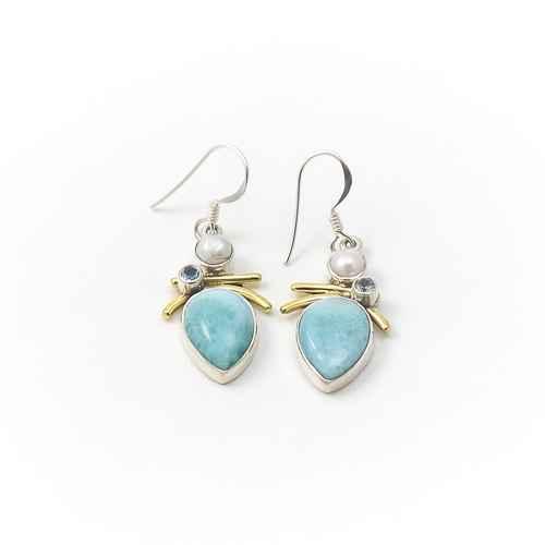 Earring- Larimar Pear...  by  Alison Wahl