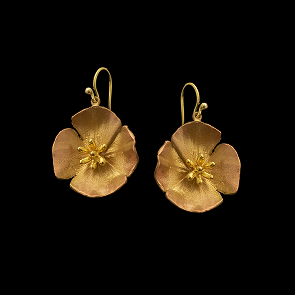 California Poppy Large Wire Drop Earrings
