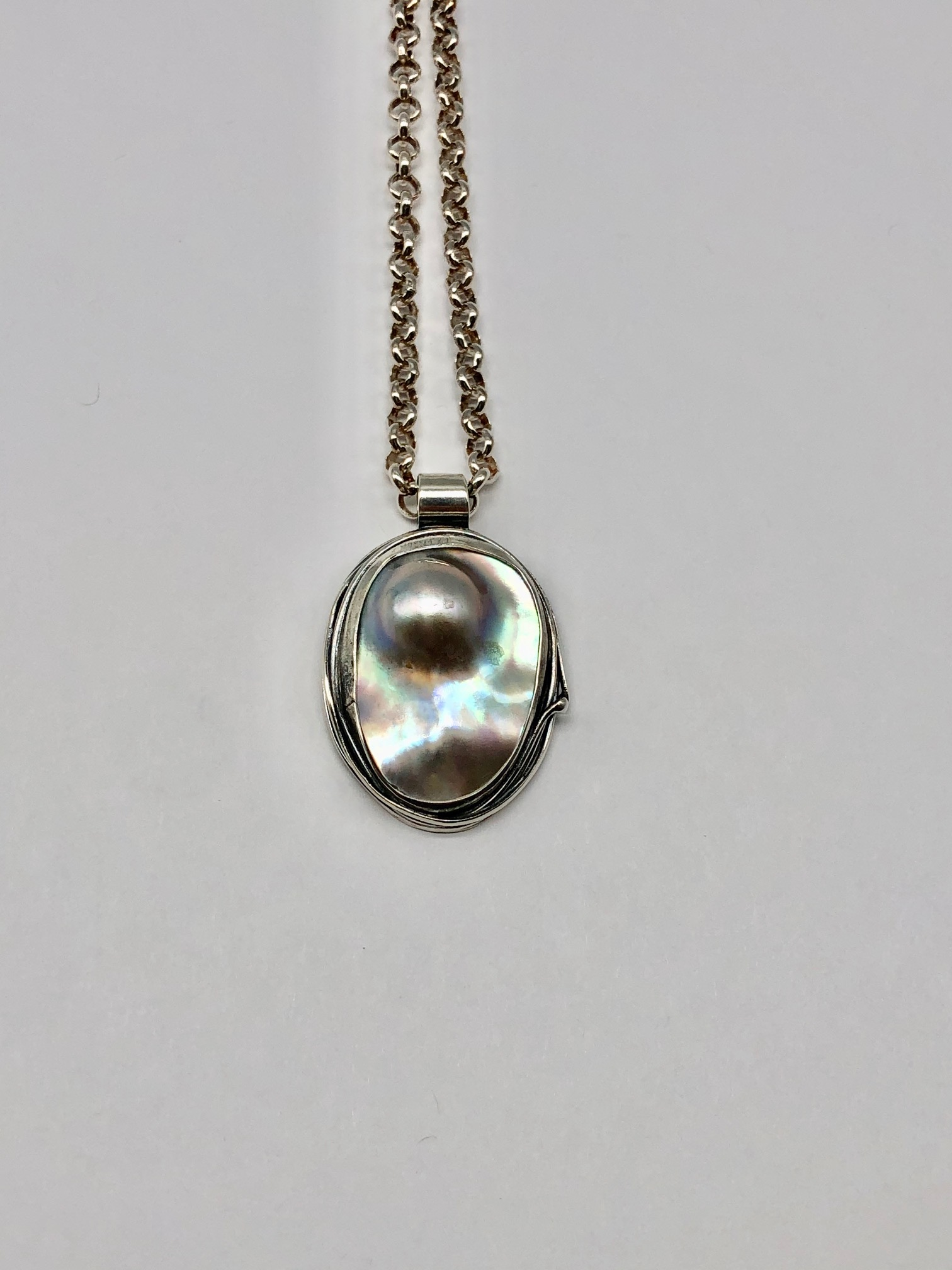 Mabe Pearl Pendant on Sterling Rolo Chain 19