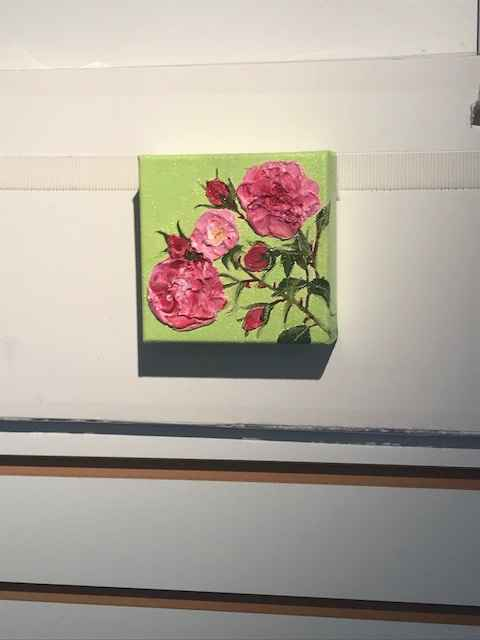 Small Pink Rose on Gr... by  Rosalie Ripaldi Shane - Masterpiece Online