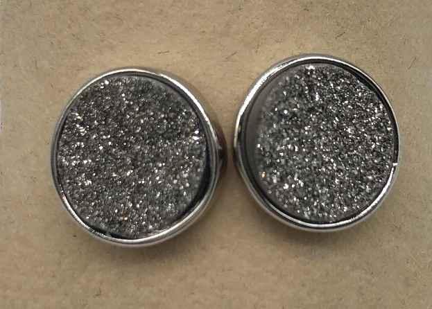 10mm Round Silver Druzy set in Silver Earrings