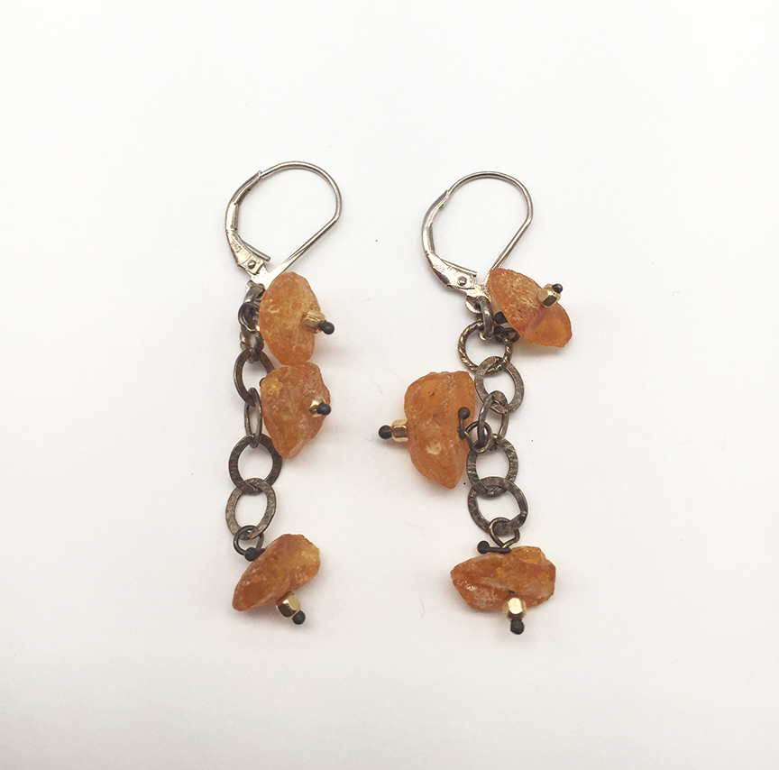 Yellow Stone Dangle Earrings
