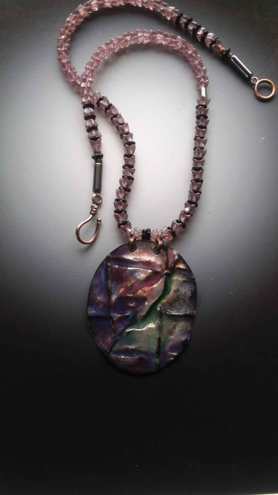 Folded Copper Enamel Necklace