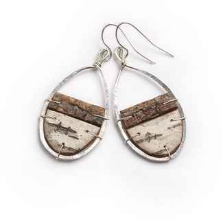 Nordic Earrings Birch Bark and Sterling Silver 1 3/4
