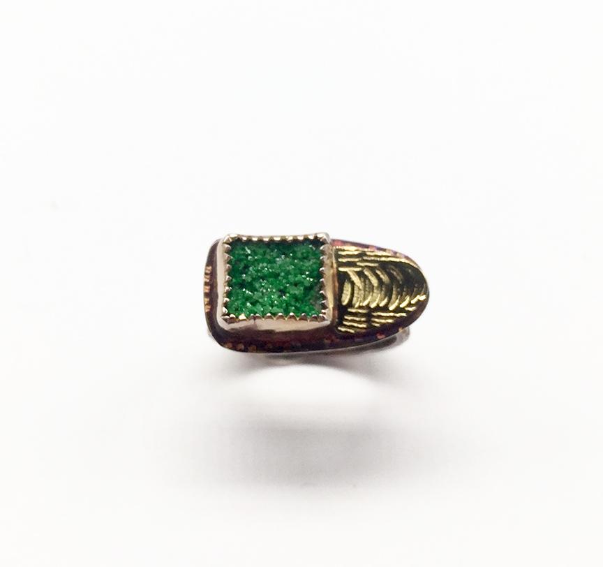 Uvarorite (Green Garnet), Sterling and 22k Ring Size 7 1/2