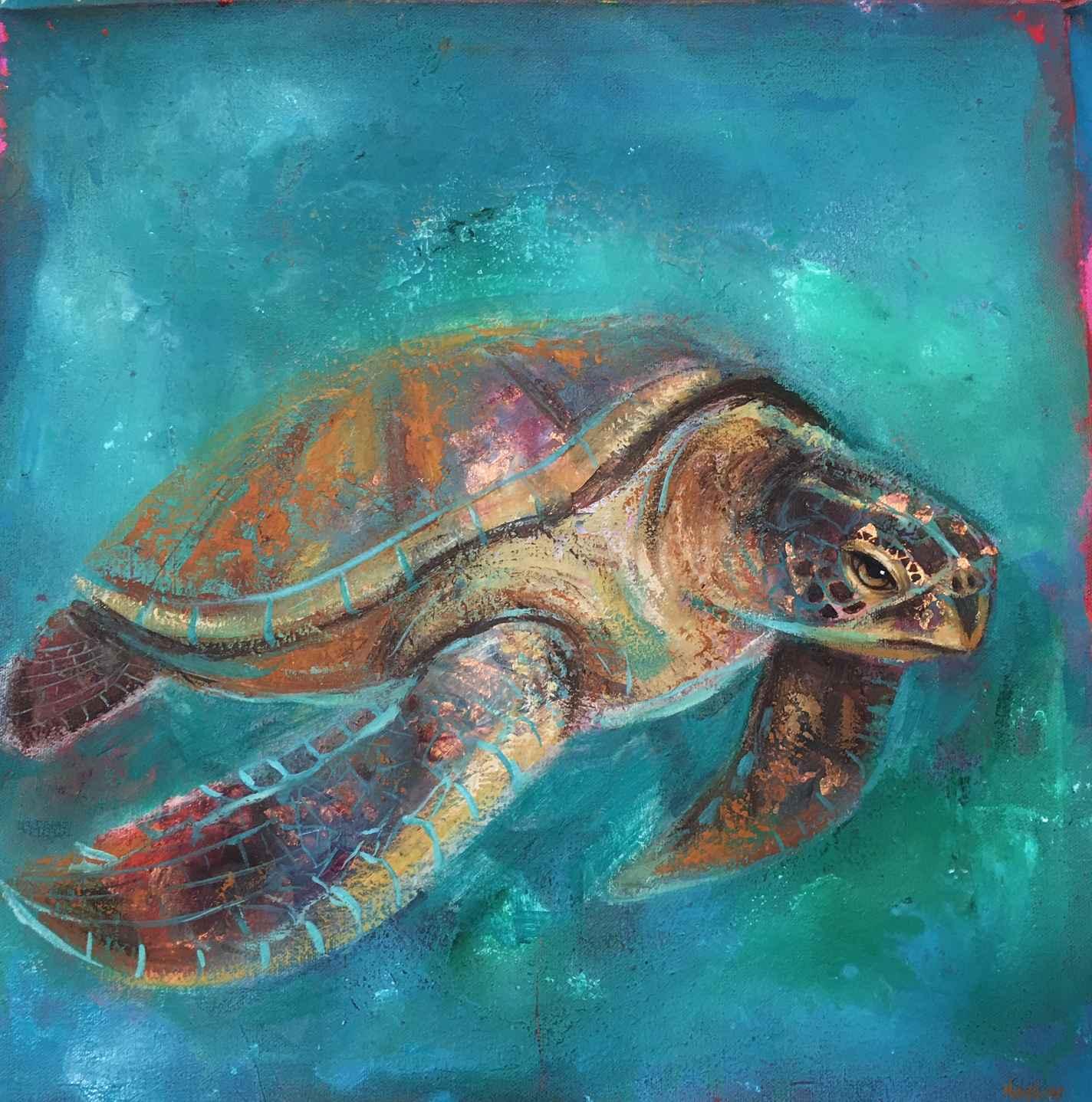 Sea Turtle In Turquoi... by  Naydene Gonnella - Masterpiece Online