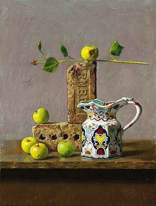 Apples, Fenton Vase &...  by  Daniel E. Greene, NA