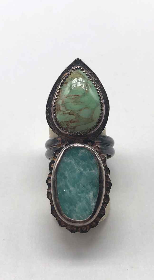 Sterling, Varisite and Natural Surface Amazonite Ring - Size 7 1/4