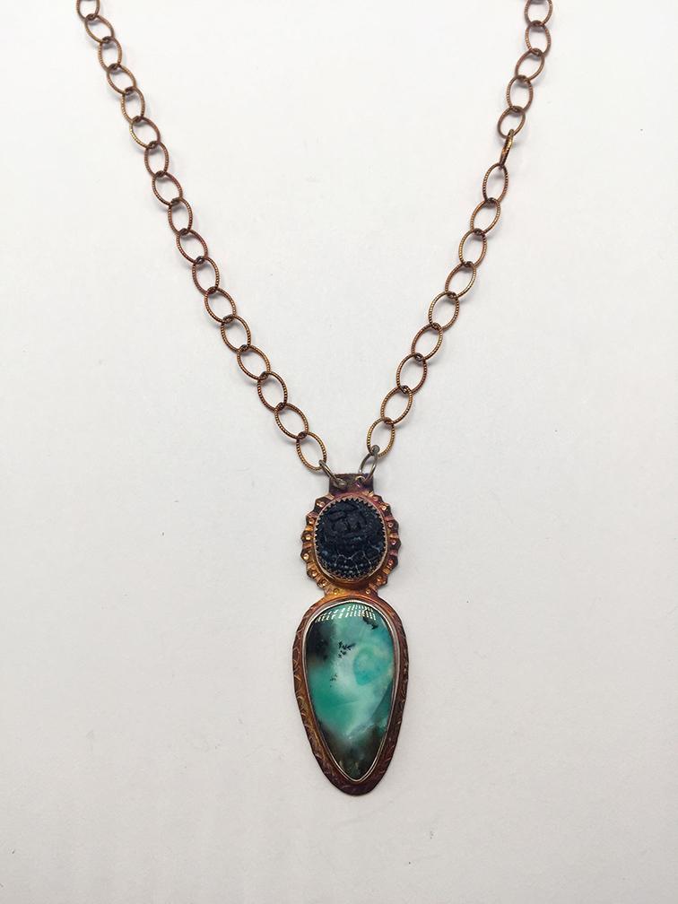 Acid Etched Black Onyx, Blue Opal Displaced Petrified Wood Necklace