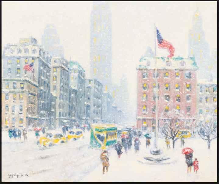Winter at Madison Squ... by  Guy C. Wiggins 1883-1962 - Masterpiece Online
