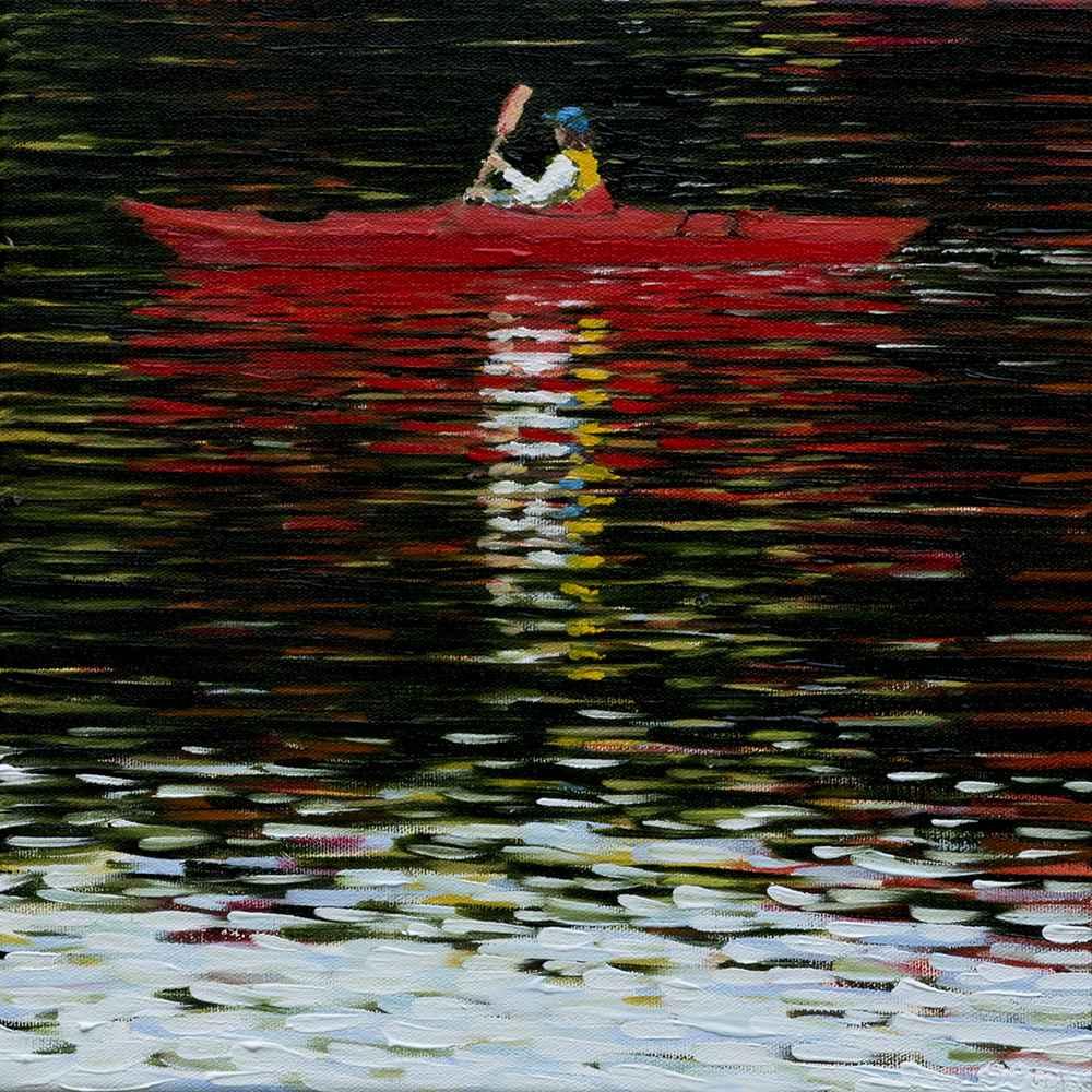 Red Kayak represented by  by  Susan Oomen