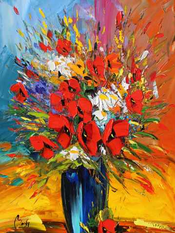 Blue Vase with Red Po...  by  Louis  Magre
