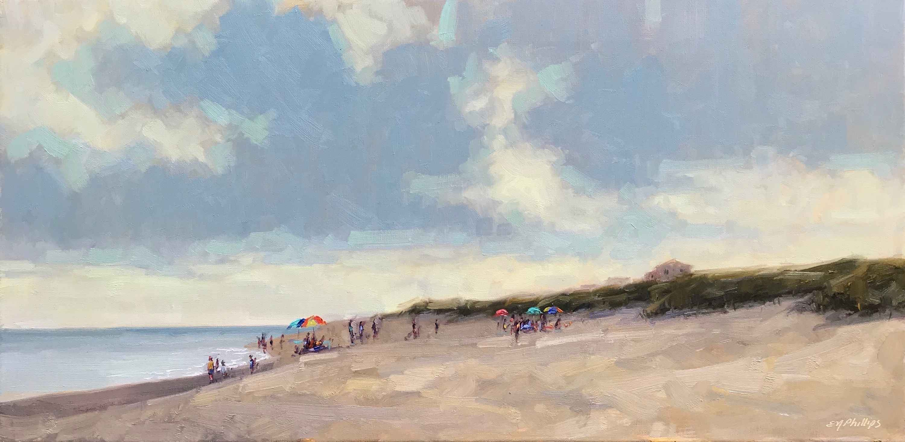 Sitting on the Beach by  Elise Phillips - Masterpiece Online