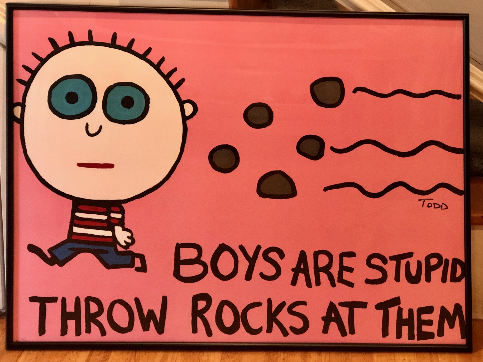 Boys Are Stupid Throw... by  Todd Goldman - Masterpiece Online