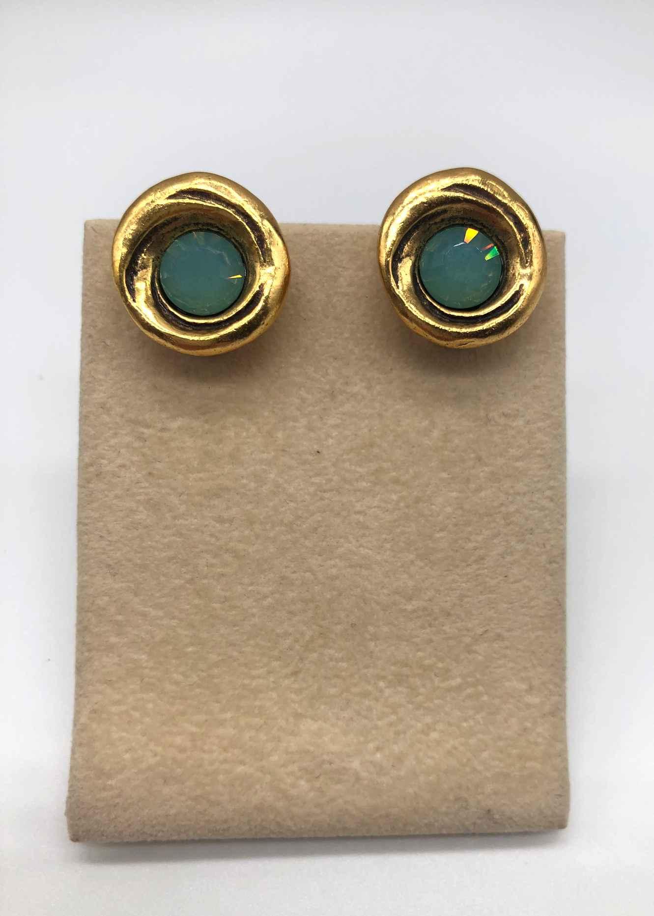 Amala Clip Earring in Gold, Opal Crystal