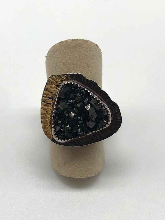 Sterling, 22k Gold and Black Garnet Ring Size 7.25