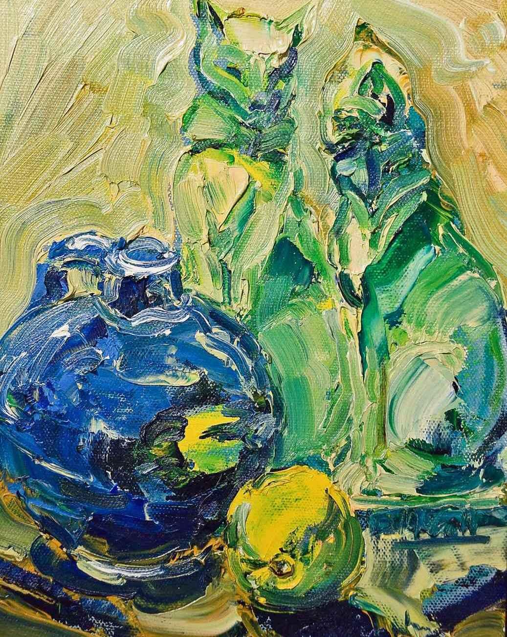 Green Cat Figurines w... by  Bill McCall - Masterpiece Online