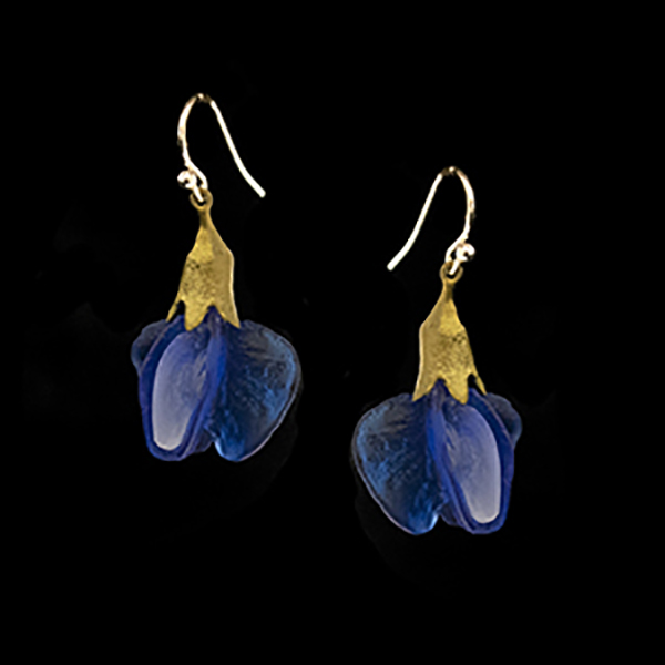 False Indigo Glass Blossom Wire Earrings