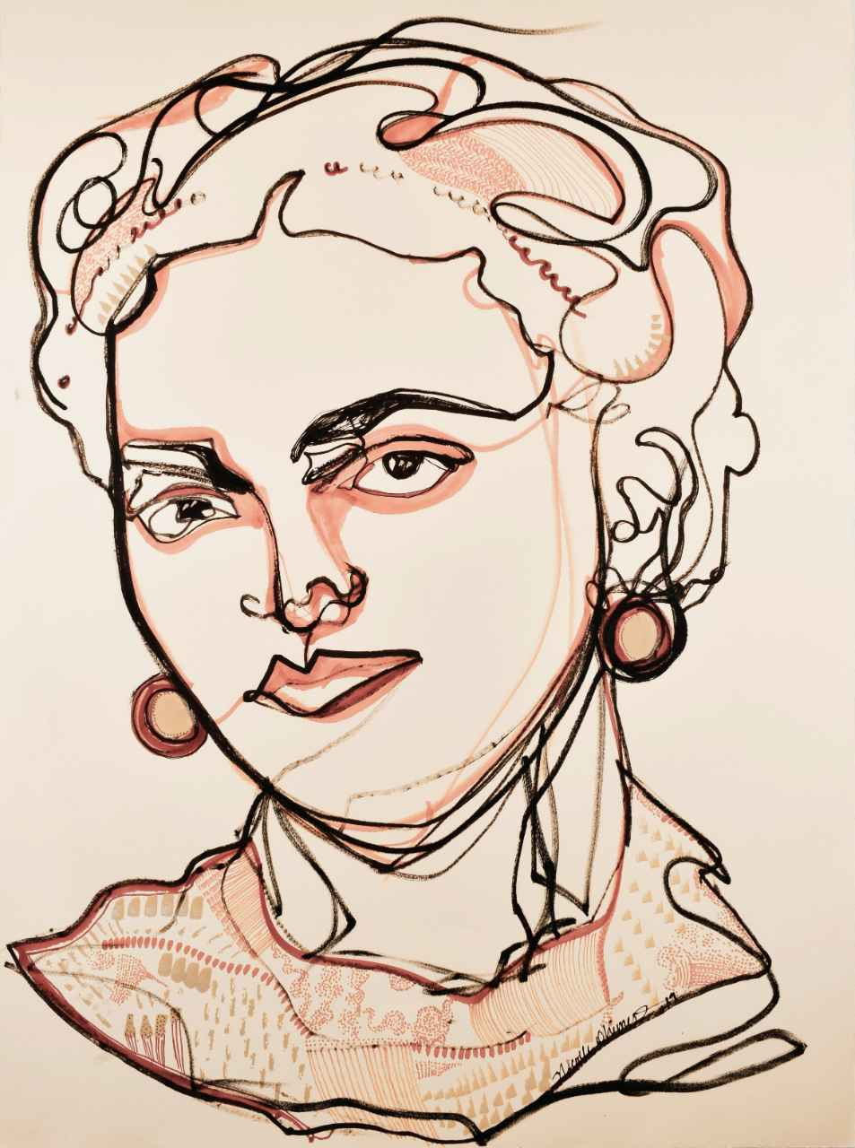 Frida One Line Drawing by  Nicolle Dhimes - Masterpiece Online
