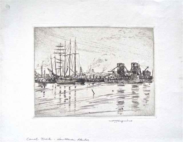 Canal Dock, New Haven... by  Huc-Mazelet Luquiens (1881-1961) - Masterpiece Online
