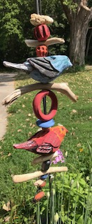 Two Bird Hanging Totem (Blue Bird and Red Bird)