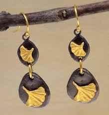 Pebble Double Ginkgo Wire Earring