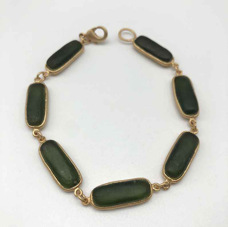 Rectangle Bracelet, Bronze and Cast Glass, 7 1/2
