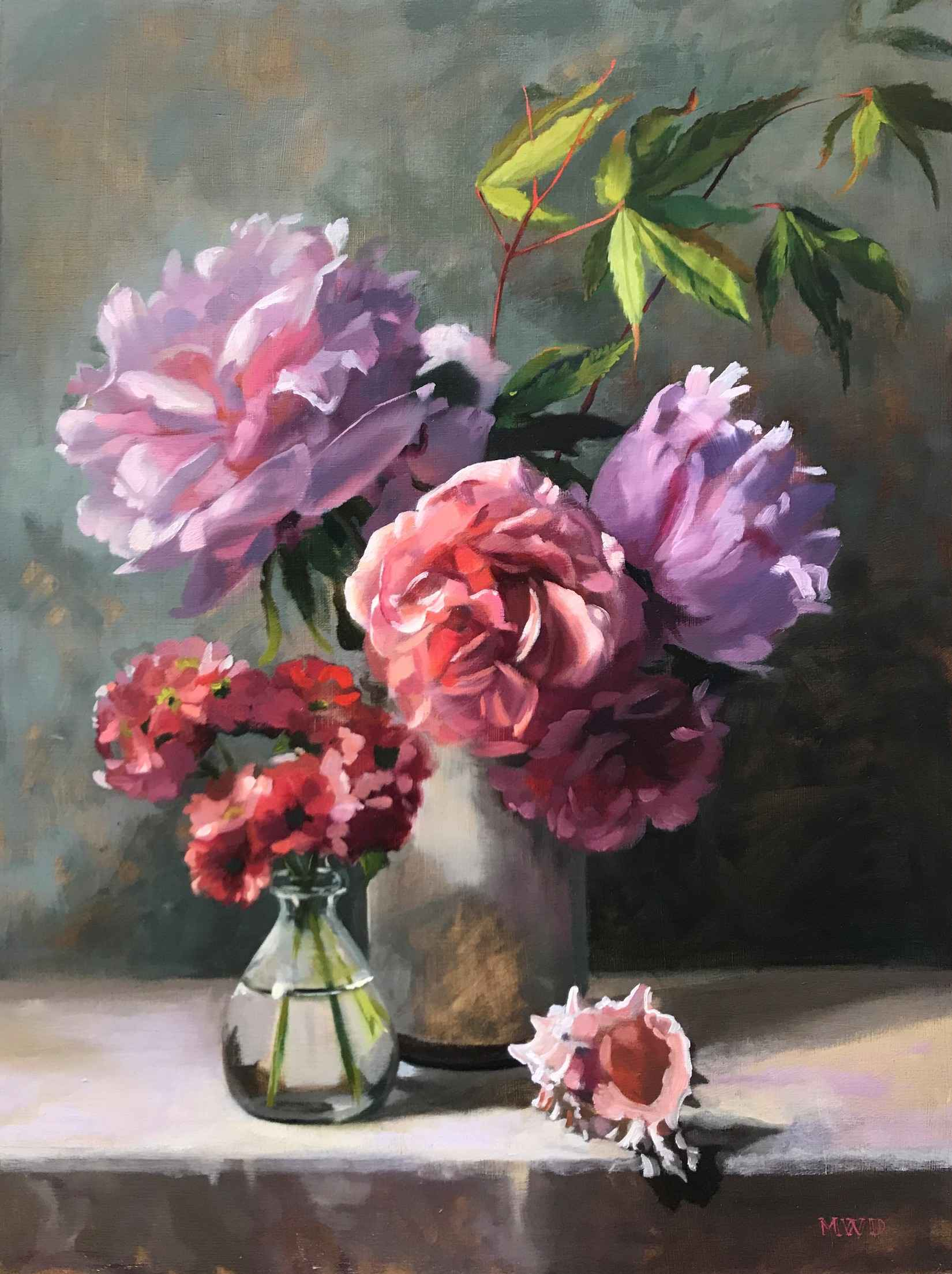 Pink Peonies and Blus... by  Michelle Waldele - Masterpiece Online