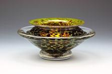 Small Ikebana Bowl, Opaque Silver Black