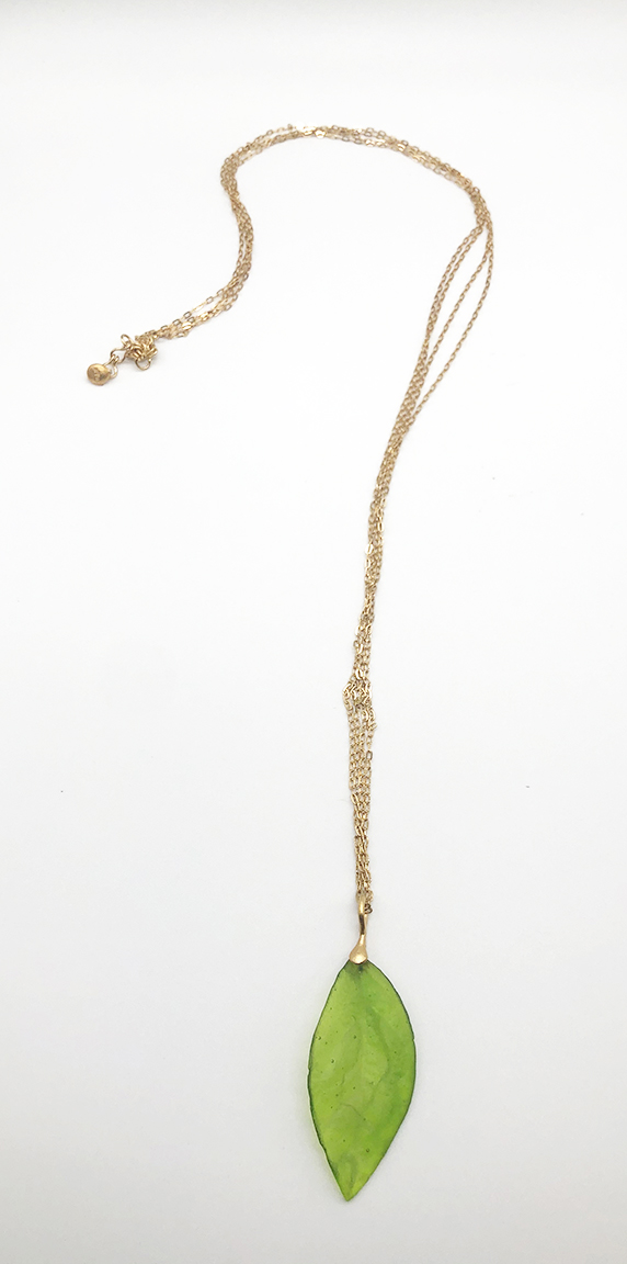 Long Leaf Pendant on Double Chain 36