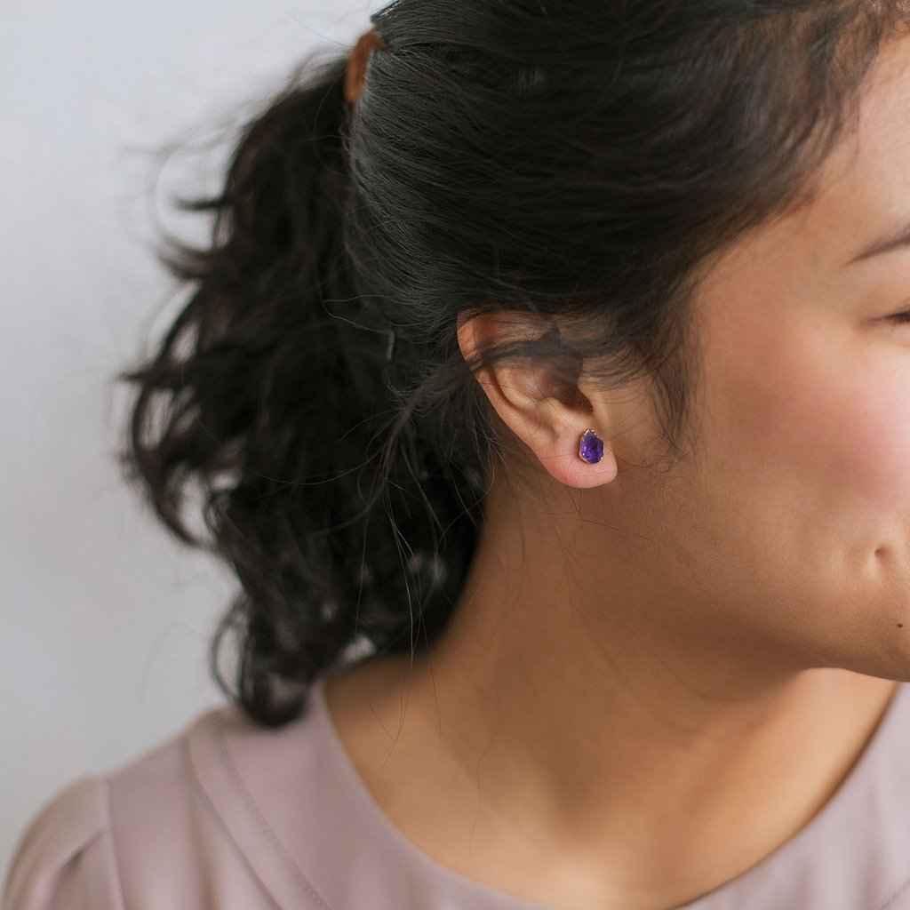 Amethyst Stud Earrings Gold