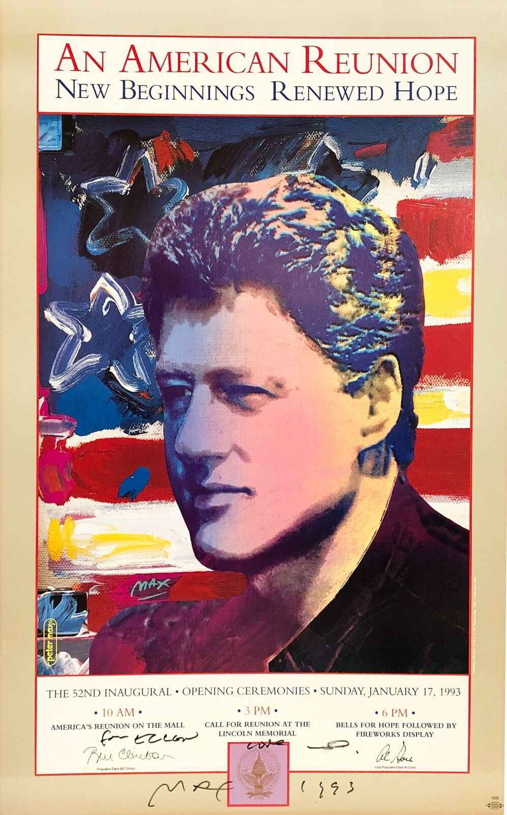 Bill Clinton 1993 Ina... by  Peter Max - Masterpiece Online